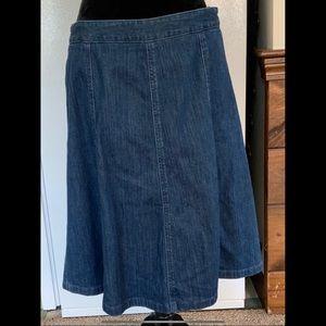 12 LL Bead Classic A-Line Blue Denim Skirt Vintage